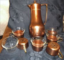 RARE THERMOS # 52 COPPER BRASS THERMOS JUG + 6 SCHOTT GLASS CUPS & HOLDERS